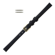 Leather Watch Band 11MM Black Smooth Calf