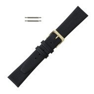 Long Leather Watch Band 18MM Black Smooth Calf