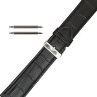 26MM black classic leather extra wide watch band