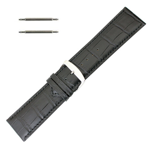 28mm classic grain extra wide black leather watch band