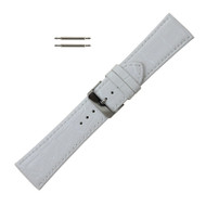 Leather Watch Band 24 MM White Leather Alligator Grain  Extra Wide Band