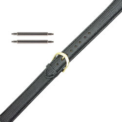 19MM black lizard calf grain extra long leather watch band