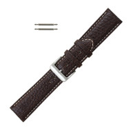 Leather Watch Band 20 MM Dark Brown Buffalo Chronograph Grain