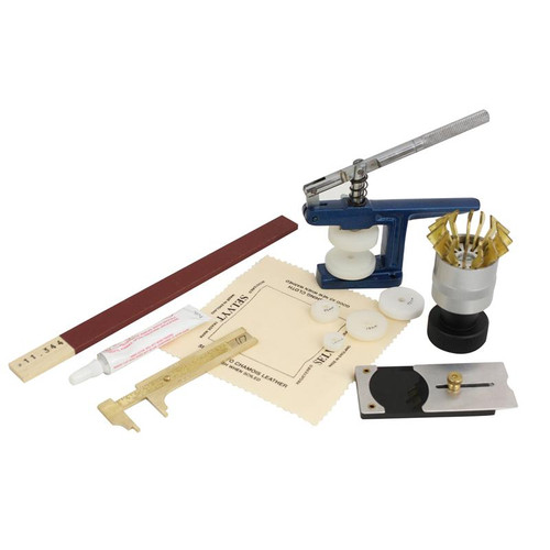 Watch crystal fitting tool kit for replacing watch crystals