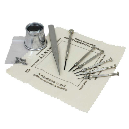 9 piece eyeglass repair tool kit with small screw assortment