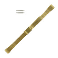 Ladies Watch Band 10 MM Gold Tone Stainless Steel Flat Jubilee Look