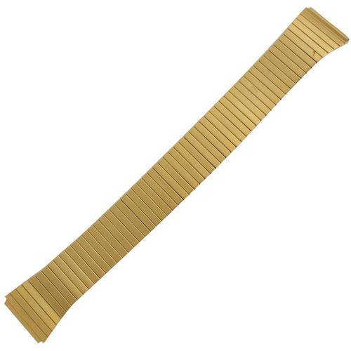 Mens 18mm tapered gold tone classic expansion style watch band