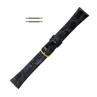 Watch Band 19 MM Black Calfskin Leather Crocodile Grain