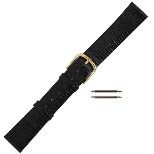 16MM men's black leather lizard grain replacement watch band