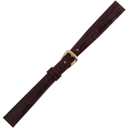11MM Ladies Red Leather Lizard Grain Watch Band