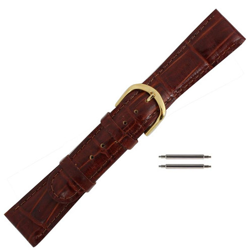 20mm red brown leather bamboo grain men's watch band
