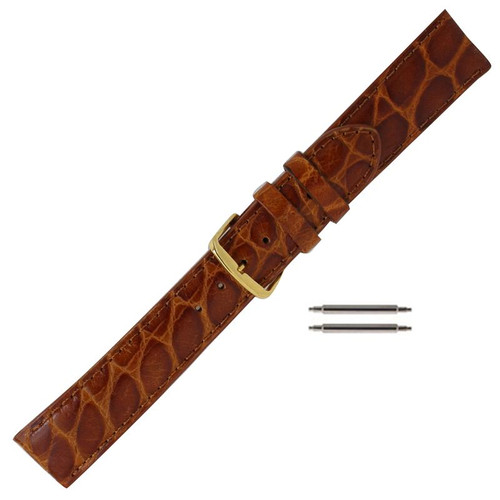 18MM honey brown leather crocodile grain men's watch band