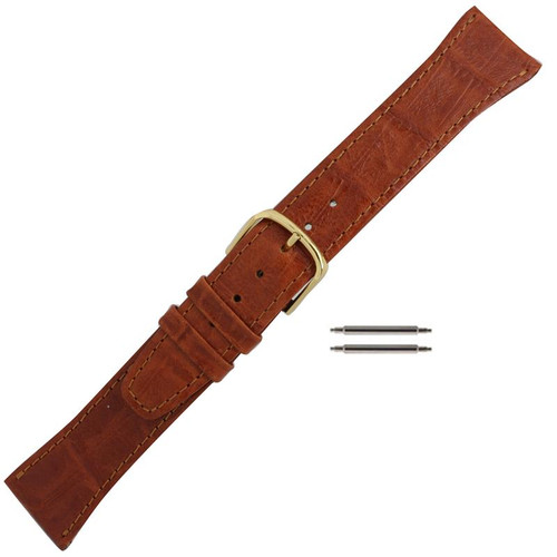 Mens 20mm orange brown leather watch band with bamboo grain