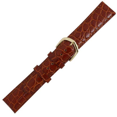 Men's watch band 18 MM orange brown leather crocodile grain