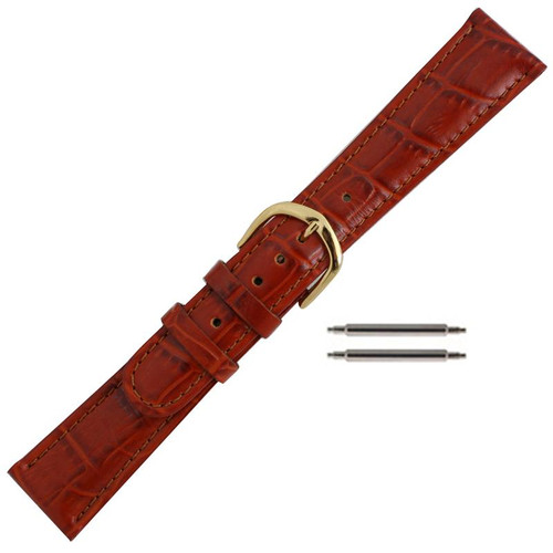 20 MM orange brown leather alligator grain men's watch band