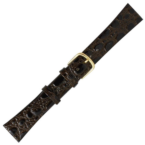 18MM dark brown leather crocodile grain men's watch band