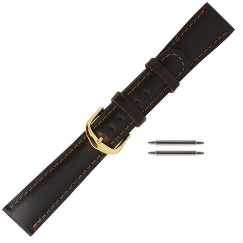 19 mm men's dark brown leather classic oilskin watch band