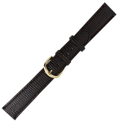 19 mm men's dark brown lizard grain leather watch band