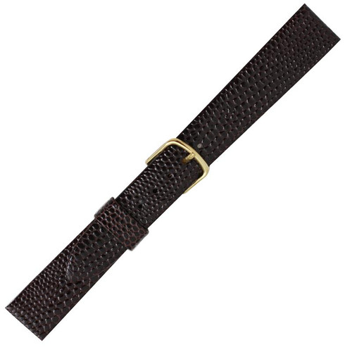 16mm men's dark brown lizard grain leather watch band