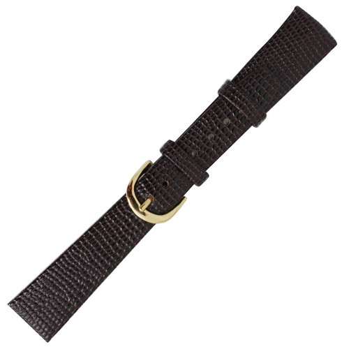 18MM men's lizard grain dark brown calfskin leather watch band