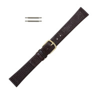 Watch Band 16 MM Dark Brown Calfskin Leather Lizard Grain