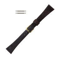 Tapered Watch Band 16 MM Dark Brown Leather Lizard Grain