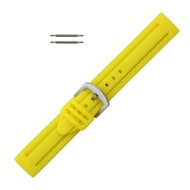 Silicone Watch Band 18MM Yellow Sport Watch Band Rubber Jelly