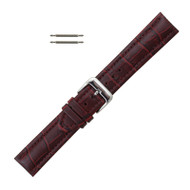 Burgundy Leather Watch Band 20MM Padded Alligator Grain Stitched