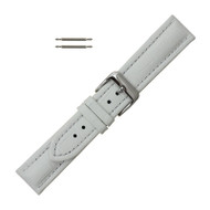 White Leather Watch Band 20MM Padded Alligator Grain Stitched