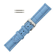 Light Blue Leather Watch Band 18MM Padded Alligator Grain Stitched