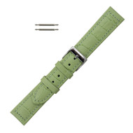 18MM Leather Watch Band Green Stitched Alligator Grain