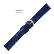 Navy Blue Leather Watch Strap 14MM Stitched Flat Croco Grain