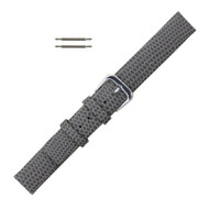 18MM Leather Watch Band Gray Flat Lizard Grain