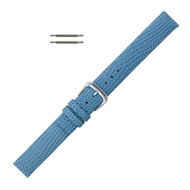 14MM Leather Watch Band Light Blue Flat Lizard Grain