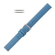 18MM Leather Watch Band Light Blue Flat Lizard Grain