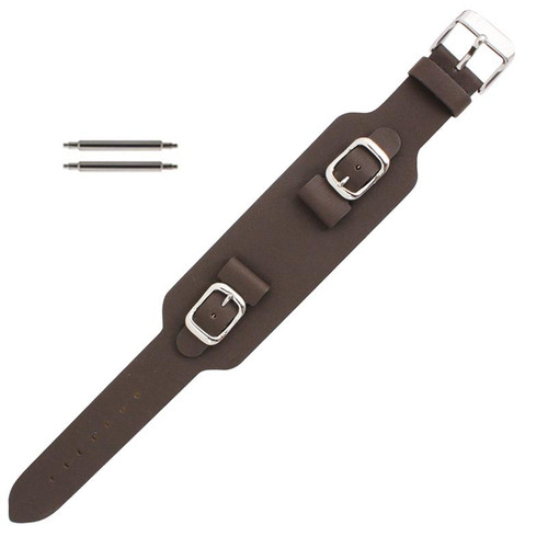 15mm brown wide leather watch band