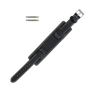 Front Black Leather Wide Watch Band 14mm Stitched