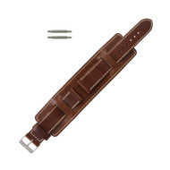Front Brown Leather Wide Watch Band 18mm Stitched