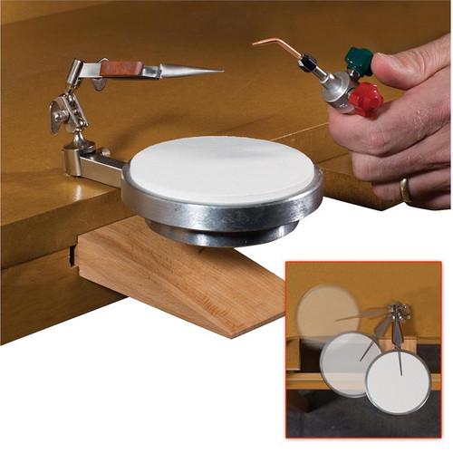 Adjustable jewelry soldering platform with mounted tweezers