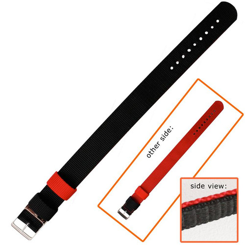 20MM red and black reversible nylon watch band