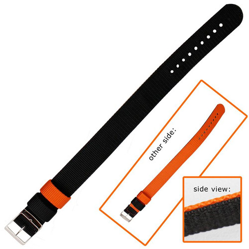 20MM reversible orange and black nylon sport watch band