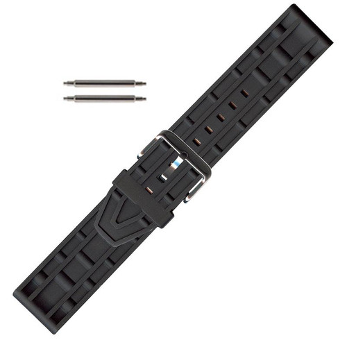 24mm black silicone rubber jelly strap sport watch band