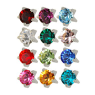 Studex stainless steel assorted birthstones ear piercing studs