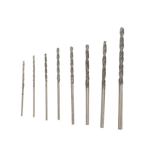 Eight piece set of mini diamond twist drill bits
