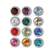 Set of stainless steel Studex ear piercing studs with birthstones