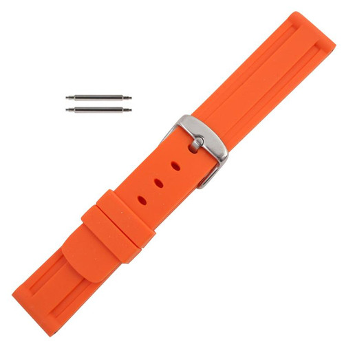 Silicone Watch Band 20mm Orange Sport Watch Band Rubber Jelly