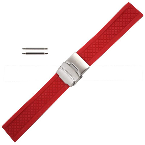 Red Silicone Watch Band 22mm
