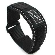 Black With White Stitching Nylon Watch Strap Velcro Style Sport Band 20mm
