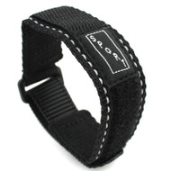 Black With White Stitching Nylon Watch Strap Velcro® Style Sport Band 20mm