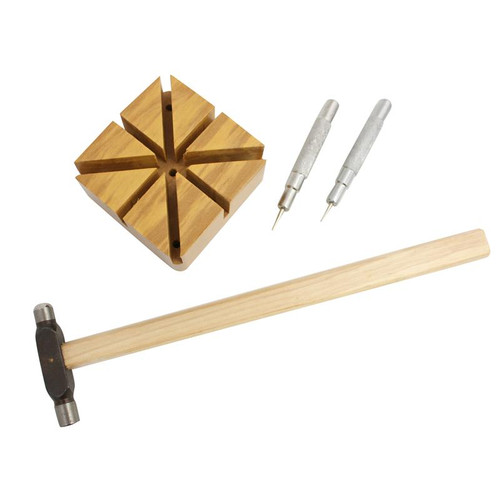 Watch Band Sizing Kit with Hammer Band Block and Set of Friction Pin Punche